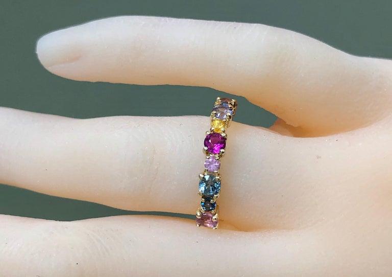 Multi-Color Sapphires Half Eternity Wedding Band Yellow Gold In New Condition For Sale In Brunswick, ME