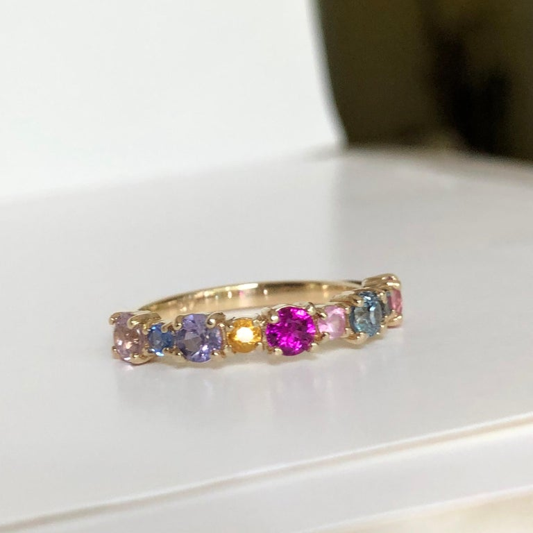 Multi-Color Sapphires Half Eternity Wedding Band Yellow Gold For Sale 1