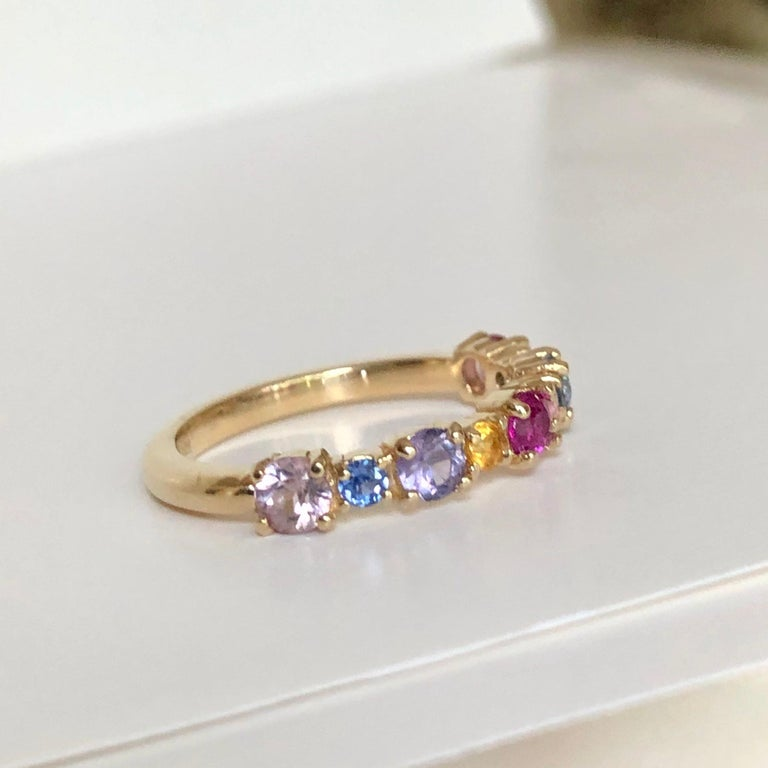 Multi-Color Sapphires Half Eternity Wedding Band Yellow Gold For Sale 3