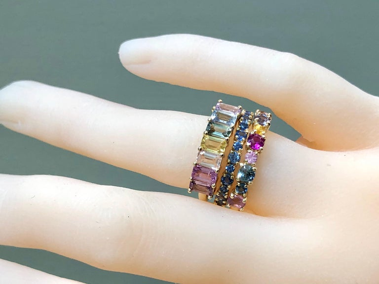 Multi-Color Sapphires Half Eternity Wedding Band Yellow Gold For Sale 5