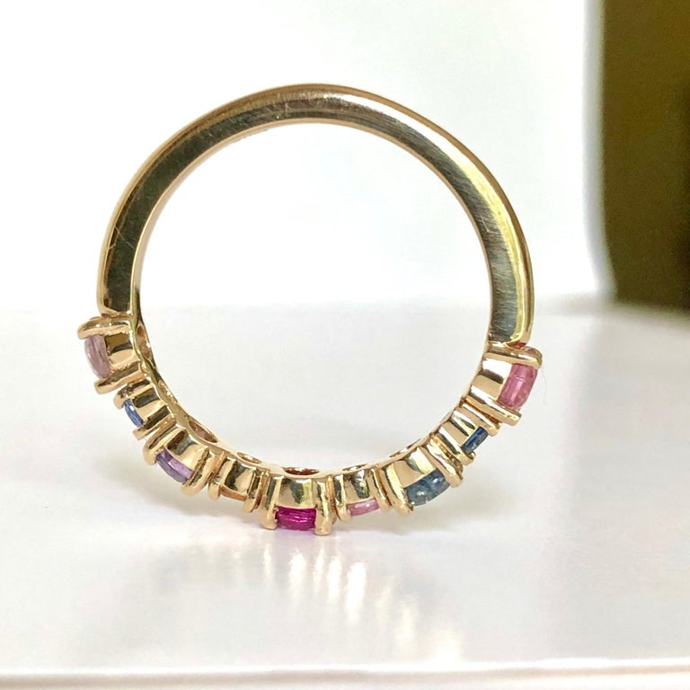Contemporary Multi-Color Sapphires Half Eternity Wedding Band Yellow Gold For Sale
