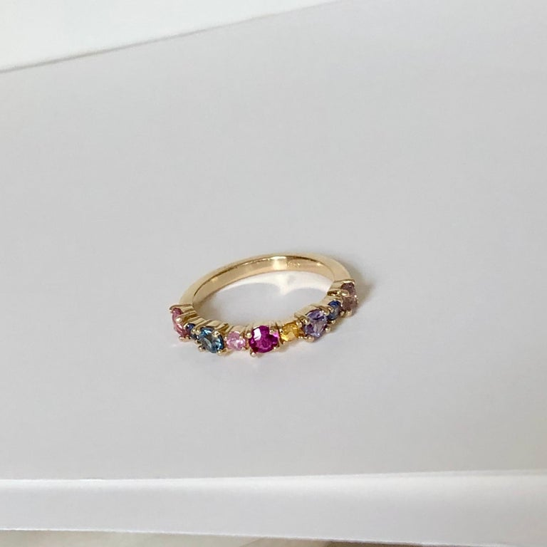 Round Cut Multi-Color Sapphires Half Eternity Wedding Band Yellow Gold For Sale