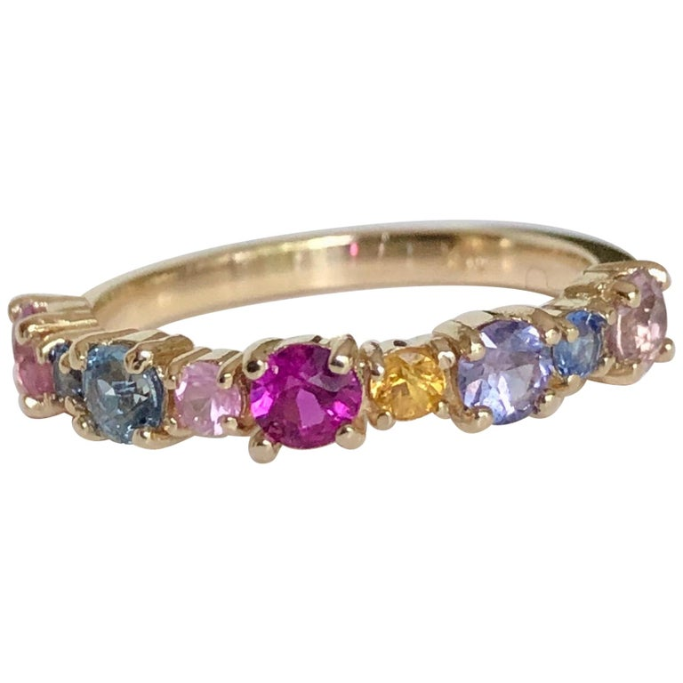 Multi-Color Sapphires Half Eternity Wedding Band Yellow Gold For Sale