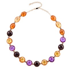 Multi-Color Semi-Precious Gemstones Necklace in 18 Karat Rose Gold with Diamonds