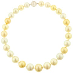 Multi-Color South Sea Pearl Diamond and Platinum Necklace