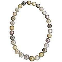Multi-Color South Sea Pearl Diamond Gold Necklace