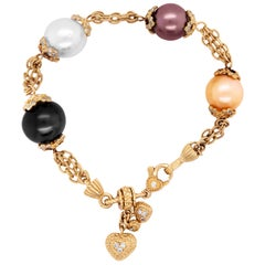 Multi-Color South Sea Pearl Yellow Gold and Diamond Chain Bracelet Stambolian