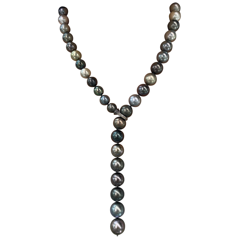 Multi-Color South Sea Tahitian Pearl Diamond Necklace