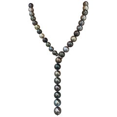 Multi-Color South Sea Tahitian Pearl Diamond Necklace
