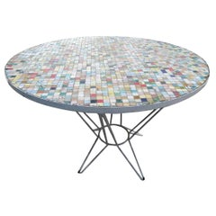 Multi-Color Round Ceramic Tile Garden Table with Iron Base