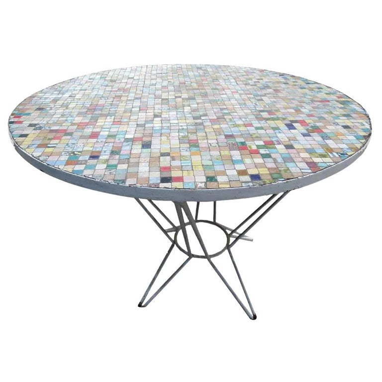 Multi-Color Spanish Round Ceramic Tile Garden Table with Iron Base For Sale