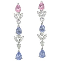 Multi-color Spinel and Diamond Dangle Earrings