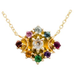 Multi-Color Stone and Diamond Round Pendant Necklace in 18 Karat Yellow Gold