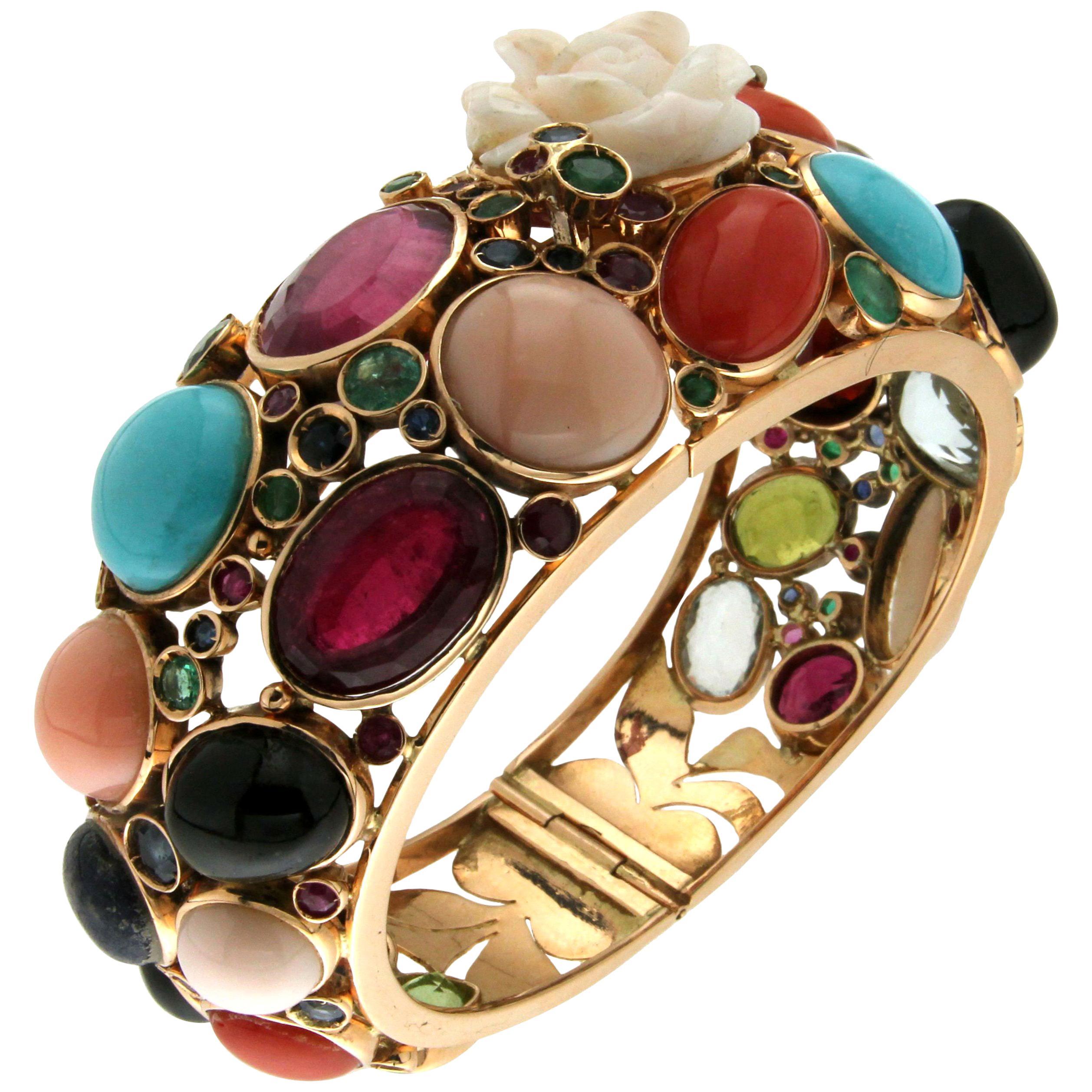 Multi-Color Stones 14 Karat Yellow Gold Clamper Bracelet