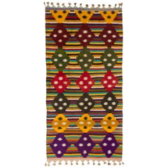Multi-Color Striped Cotton Indian Dhurrie Rug