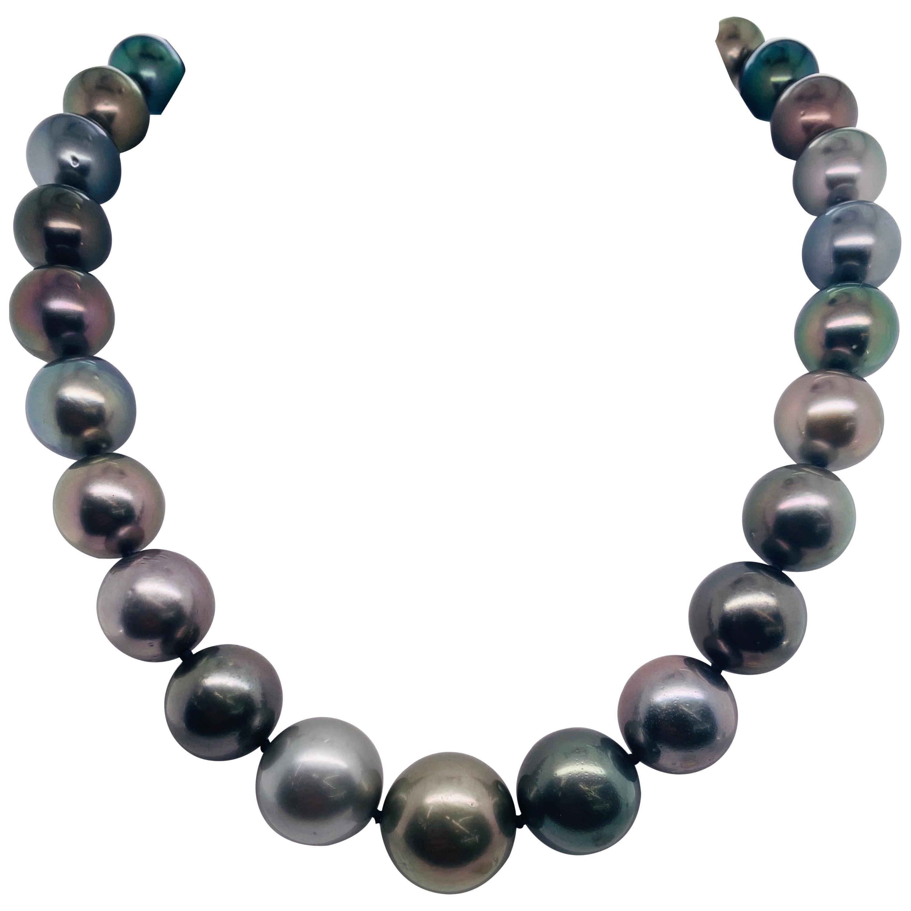 Multi-Color Tahitian Pearl Strand Necklace 14 Karat White Gold