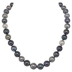 Multi-Color Tahitian Pearl Strand with 0.56 Diamond 18 Karat Clasp