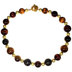 Multi-Color Tiger's Eye Choker Necklace