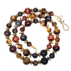 Multi-Color Tiger's Eye Necklace with Gold Accents