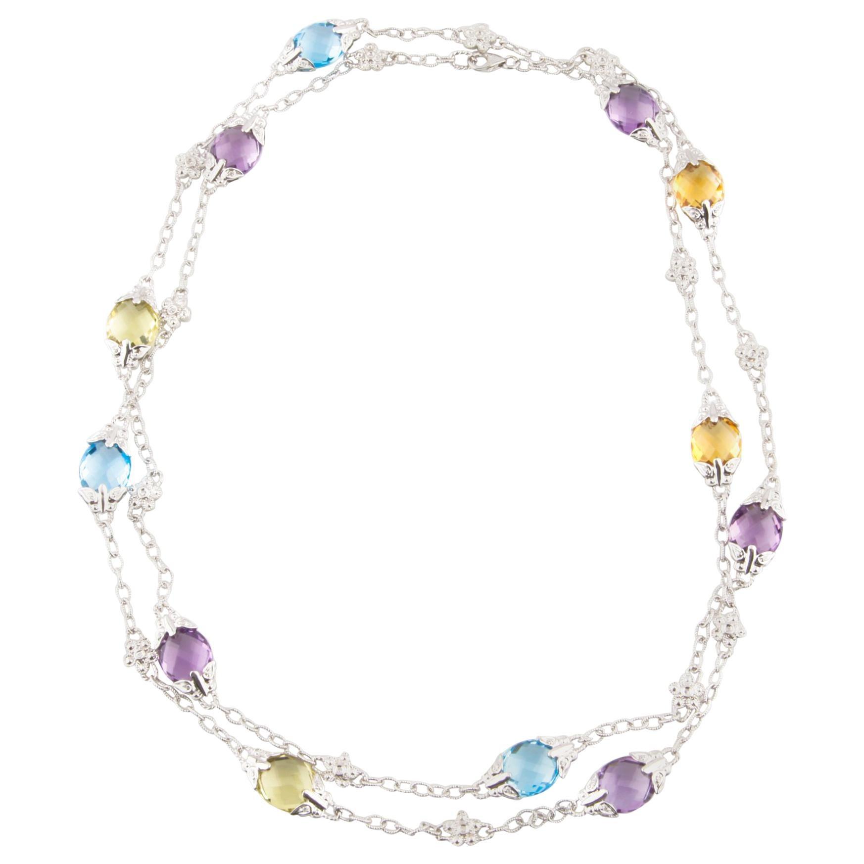 Multi-Color Topaz and Diamond Briolette 14 Karat White Gold Chain Necklace