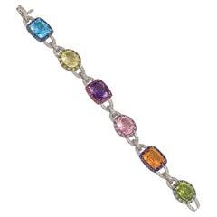 Multi-Color Topaz, Blue Topaz, Amethyst, Green topaz, Yellow Topaz, 14k Diamond