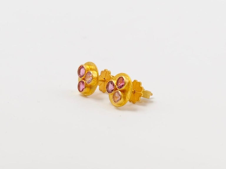 Contemporary Multi-Color Tourmaline 22 Karat Gold Round Push Earrings For Sale