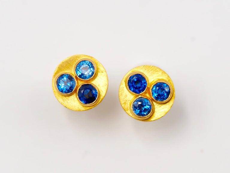 Round Cut Multi-Color Tourmaline 22 Karat Gold Round Push Earrings For Sale
