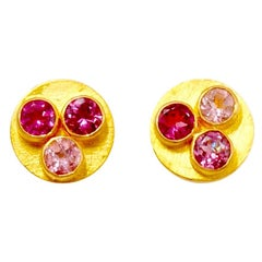 Multi-Color Tourmaline 22 Karat Gold Round Push Earrings