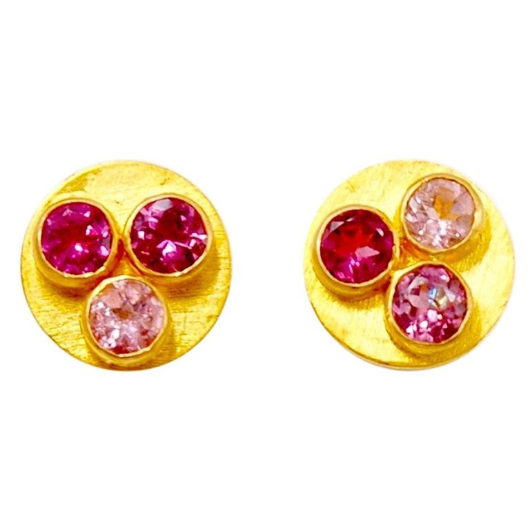 Multi-Color Tourmaline 22 Karat Gold Round Push Earrings For Sale