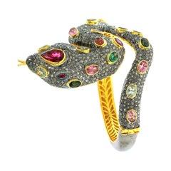 Multi-Color Tourmaline and Diamond Snake Bangle