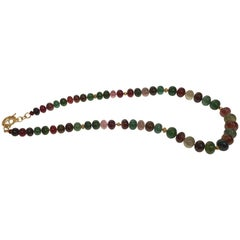 Multi-Color Tourmaline and Gold Bead Necklace