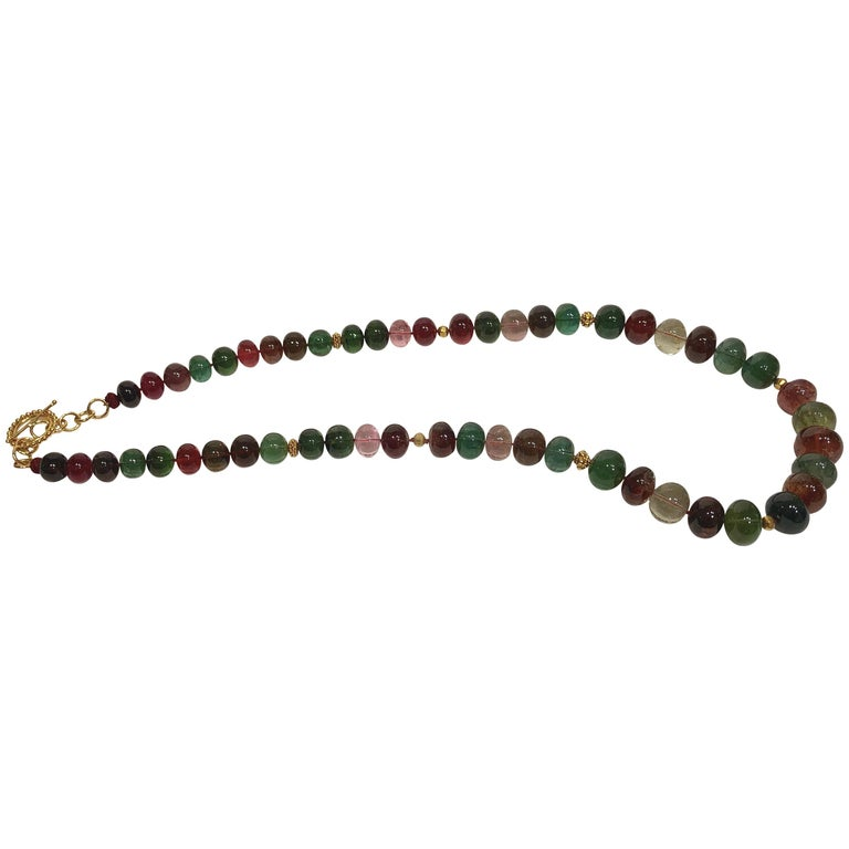 Multi-Color Tourmaline and Gold Bead Necklace For Sale