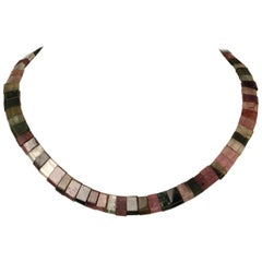 Multi-Color Tourmaline Bead Choker Necklace