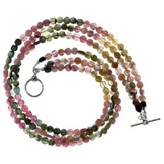 Gemjunky Multi-Color Tourmaline Choker Necklace in Three Strands