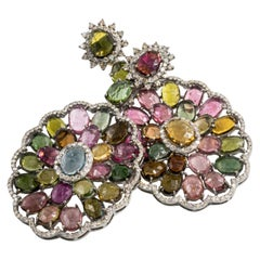 Multi-Color Tourmaline Earrings with Diamonds
