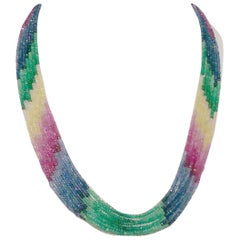 Multi-Color Tourmaline Gemstone Beads Multi Strand Gold Necklace