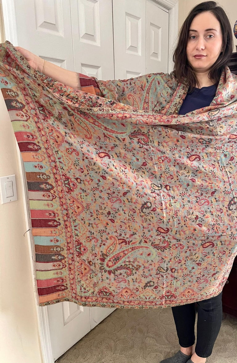 Multi Color Traditional Floral Kani Pashmina Shawl 83X42 Inches For Sale 5