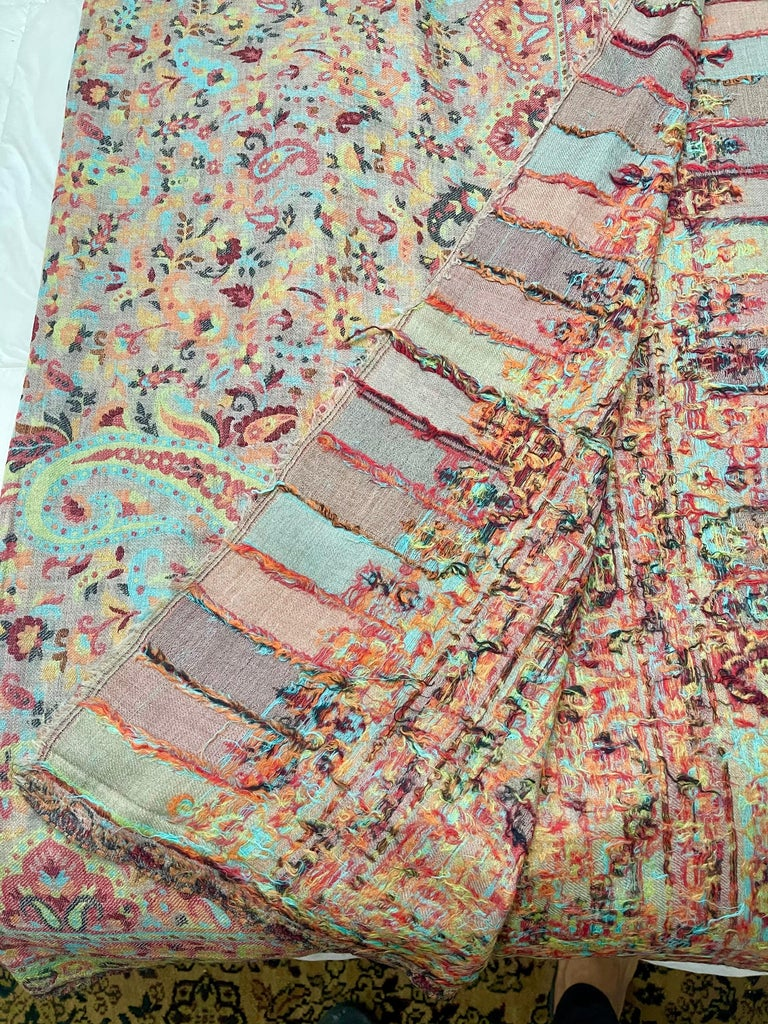 Multi Color Traditional Floral Kani Pashmina Shawl 83X42 Inches For Sale 6
