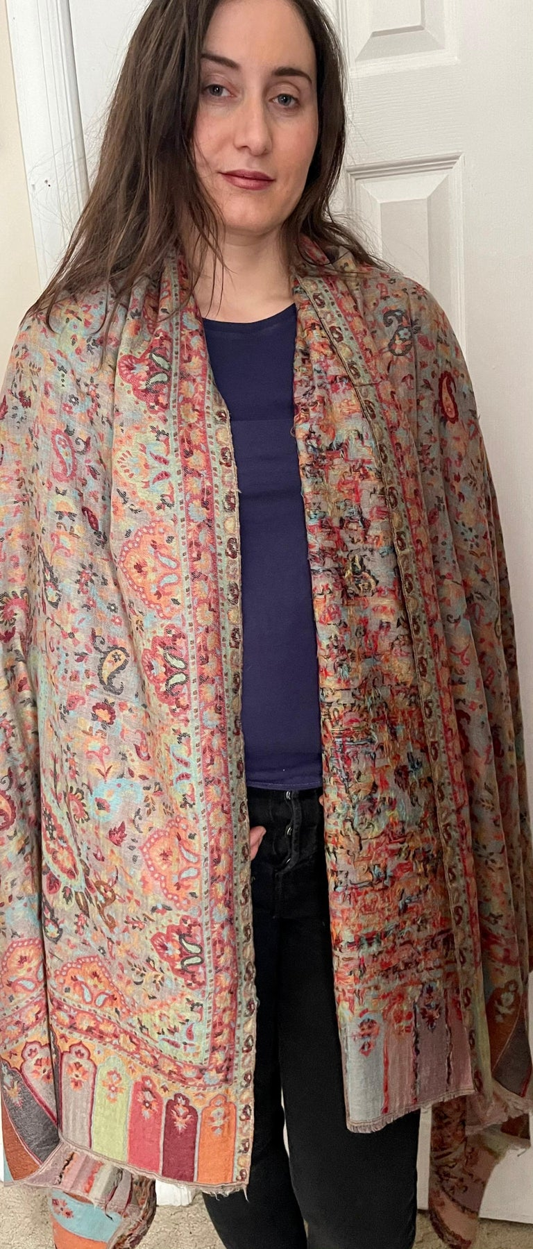 Multi Color Traditional Floral Kani Pashmina Shawl 83X42 Inches For Sale 8