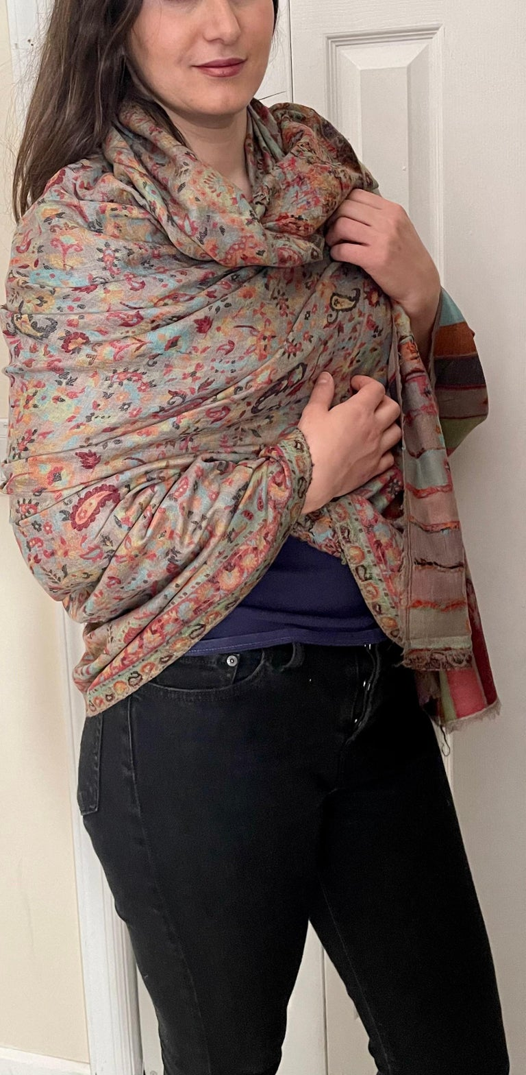 Multi Color Traditional Floral Kani Pashmina Shawl 83X42 Inches For Sale 9