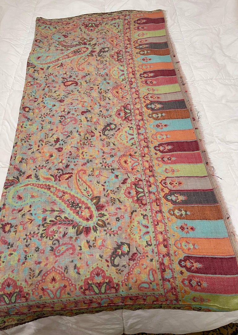 Brown Multi Color Traditional Floral Kani Pashmina Shawl 83X42 Inches For Sale