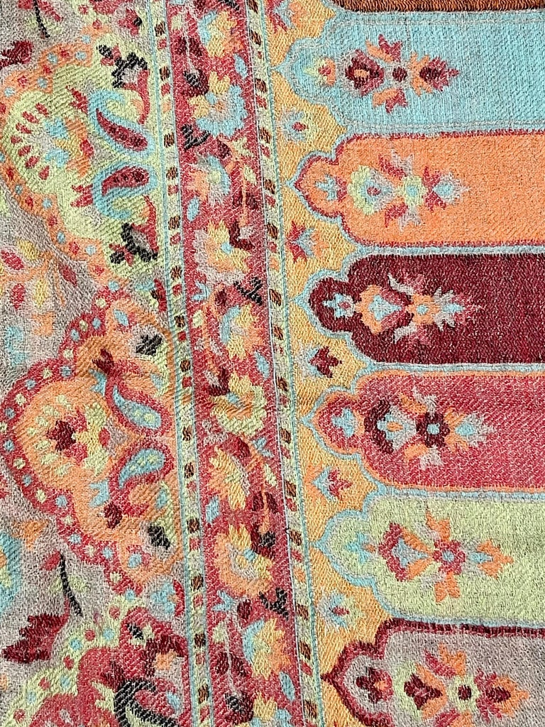 Women's Multi Color Traditional Floral Kani Pashmina Shawl 83X42 Inches For Sale