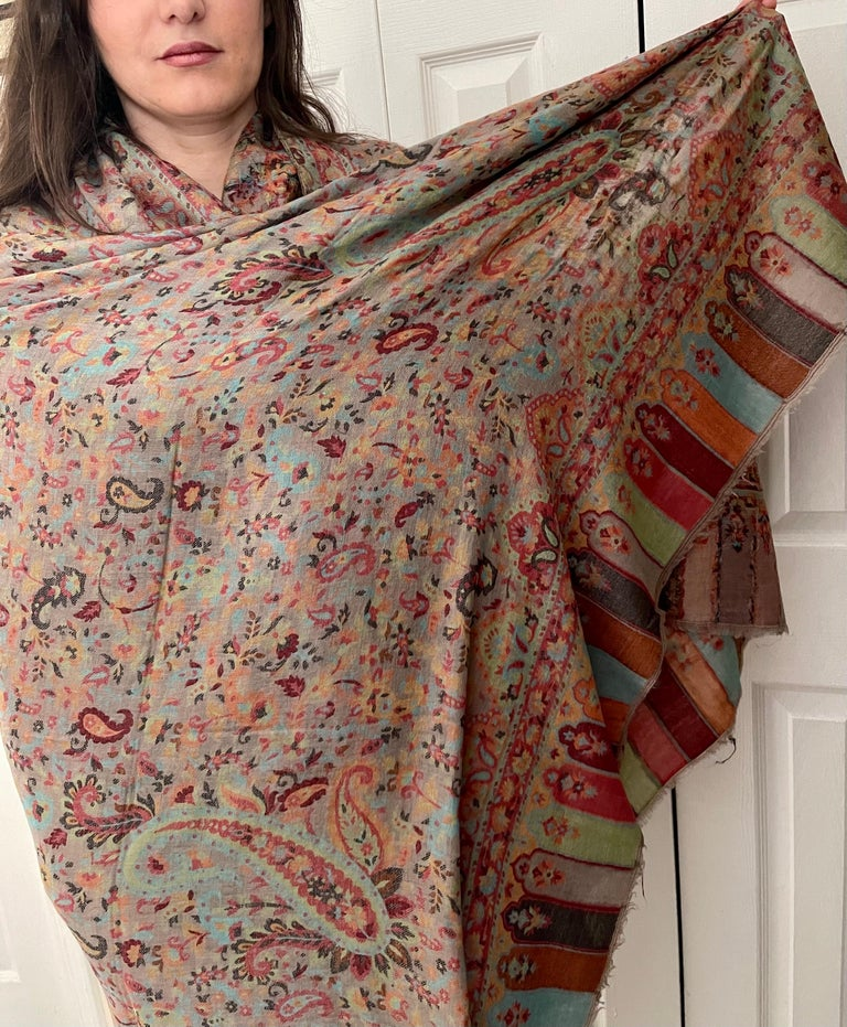 Multi Color Traditional Floral Kani Pashmina Shawl 83X42 Inches For Sale 1