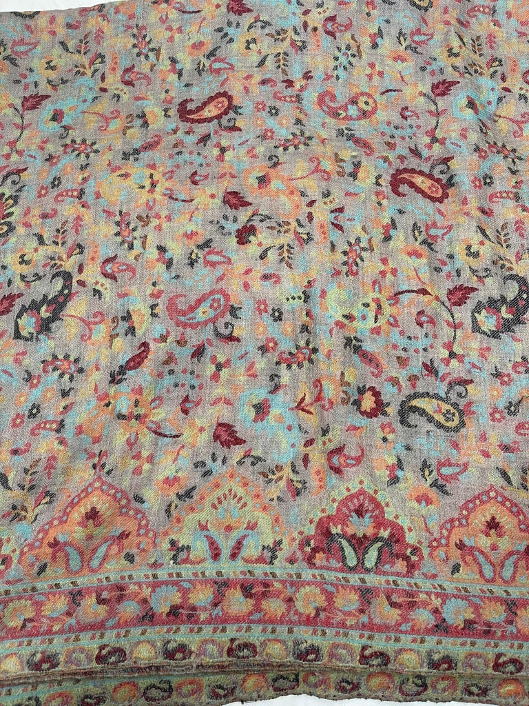 Multi Color Traditional Floral Kani Pashmina Shawl 83X42 Inches For Sale 2