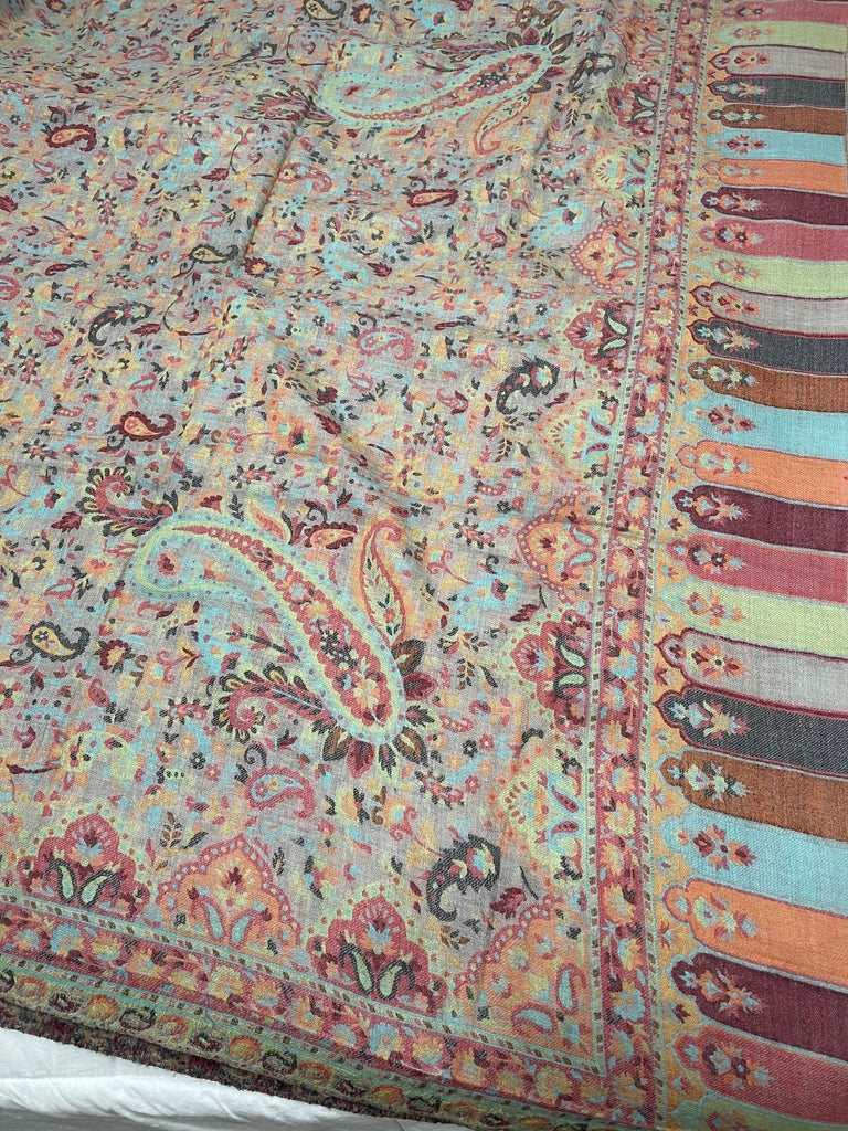 Multi Color Traditional Floral Kani Pashmina Shawl 83X42 Inches For Sale 3
