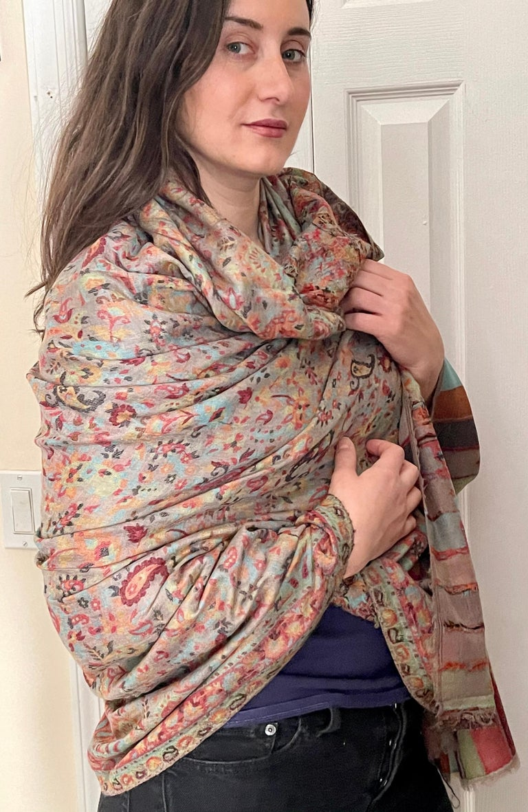 Multi Color Traditional Floral Kani Pashmina Shawl 83X42 Inches For Sale 4