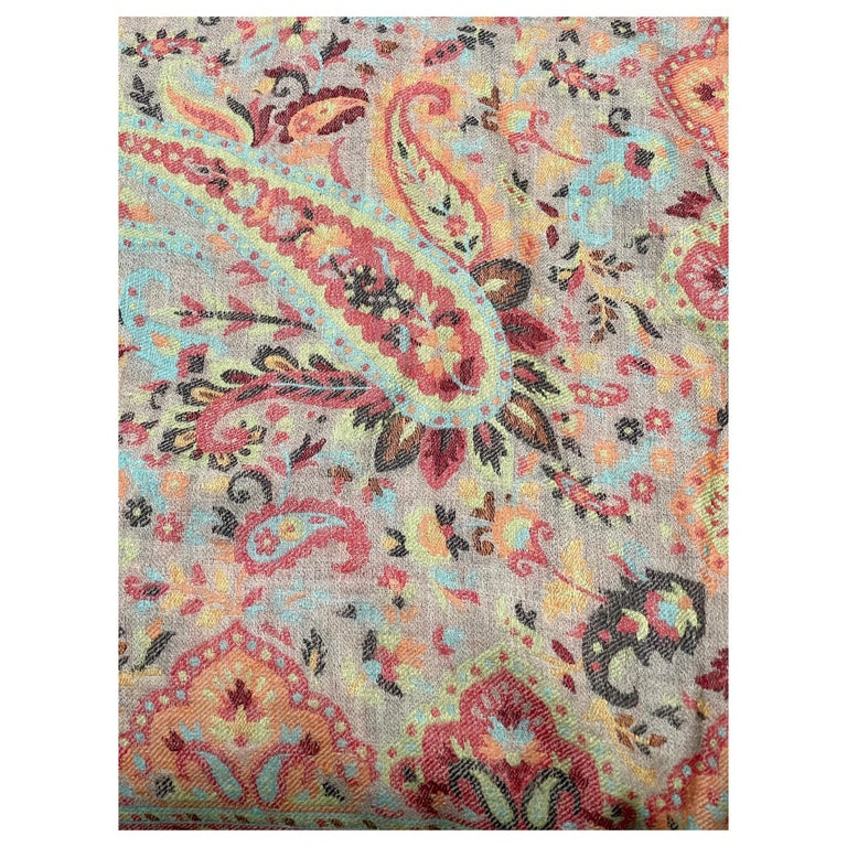 Multi Color Traditional Floral Kani Pashmina Shawl 83X42 Inches For Sale