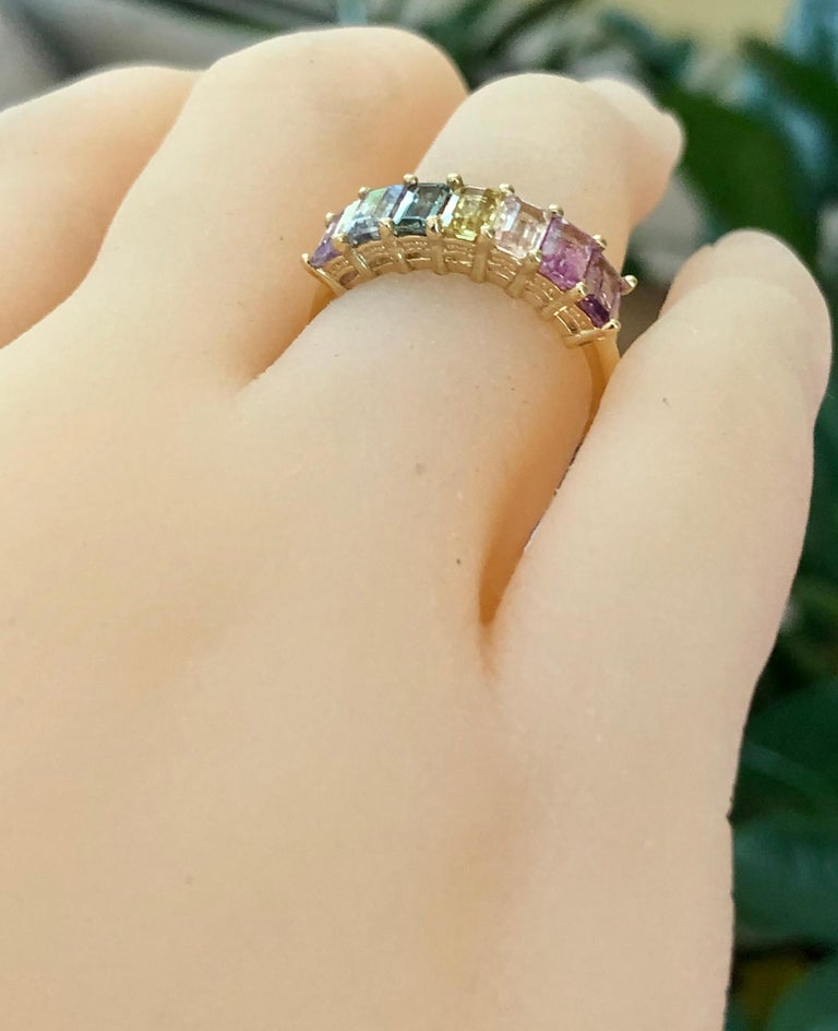 Multi-Color Untreated Sapphire Half Eternity Engagement Band Ring Yellow Gold For Sale 5