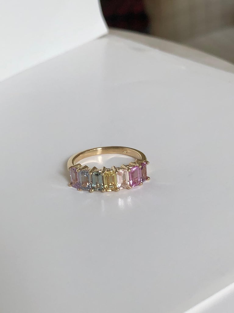 Multi-Color Untreated Sapphire Half Eternity Engagement Band Ring Yellow Gold For Sale 7