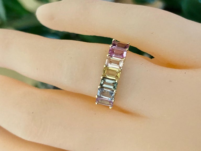 Multi-Color Untreated Sapphire Half Eternity Engagement Band Ring Yellow Gold For Sale 8
